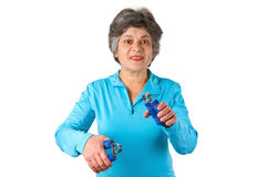 Senior woman in gym Royalty Free Stock Image