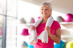 Senior woman at the gym Stock Photo