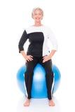 Senior woman gymnastic ball Stock Images