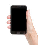 Senior woman hand with smart phone isolated Royalty Free Stock Photos