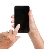 Senior woman hand with smart phone isolated Stock Image