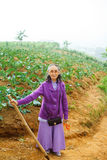 Senior woman happy hiking at the farm Royalty Free Stock Image