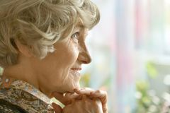 Senior woman happy at home Stock Photos