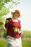 Senior woman  in  hat Royalty Free Stock Photo