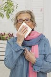 Senior Woman having an allergy Stock Photos