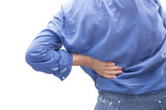 Senior woman having back pain isolated Stock Photos