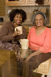 Senior woman having coffee with her daughter. stock photography