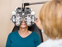 Senior Woman Having Eye Test Stock Photography