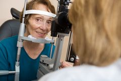 Senior Woman Having Eye Test Stock Photo