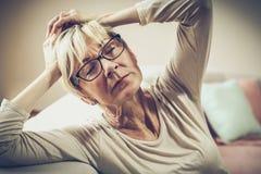 Migraine creates problems. stock photos