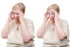 Senior woman headache collage Stock Image