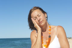 Senior woman headache menopause Stock Photography