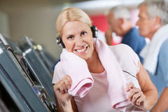 Senior woman with headphones Royalty Free Stock Image