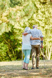 Senior woman helping man on crutches. Senior women helping men on crutches in the park in summer Stock Photo