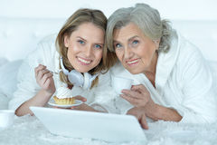 Senior woman with her adult daughter Royalty Free Stock Photo