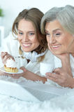 Senior woman with her adult daughter Royalty Free Stock Image