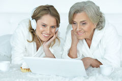Senior woman with her adult daughter Stock Images