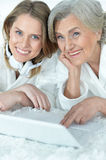 Senior woman with her adult daughter Stock Image