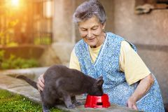 Senior woman with her cat Royalty Free Stock Photography