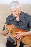 Senior woman and her cat Royalty Free Stock Photos
