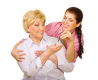 Senior woman with her daughter Royalty Free Stock Photo