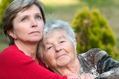 Senior woman and her daughter. Stock Photography