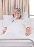 Senior woman with her respirator Royalty Free Stock Images