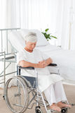 Senior woman in her wheelchair Stock Photography
