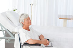 Senior woman in her wheelchair Stock Photos