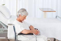 Senior woman in her wheelchair Royalty Free Stock Photo