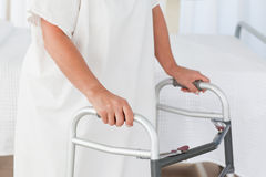 Senior woman with her zimmer frame Royalty Free Stock Photography