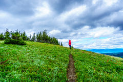 Senior Woman hiking on Tod Mountain in the Shuswap Highlands. In central British Columbia, Canada royalty free stock images