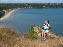 Senior woman on a hiking trail. royalty free stock photos