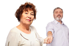 Senior woman hold hand of man Stock Images