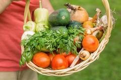Senior woman holding a basket with vegetables Stock Photo