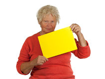 Senior woman holding a blank board Stock Photography