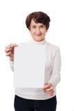 Senior woman holding board Royalty Free Stock Photos