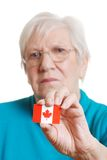 Senior Woman Holding Canada Day Flag Focus Sticker Stock Photos