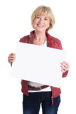 Senior woman holding empty blank billboard isolated on white bac Stock Image