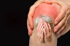 Senior woman holding the knee with pain Royalty Free Stock Image