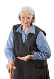 Senior woman holding medications over white Stock Photos