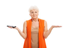 Senior woman holding a mobile phone Stock Image
