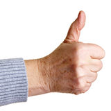Senior woman holding thumb up Royalty Free Stock Photography