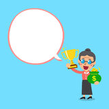 Senior woman holding trophy and money bag with white speech bubble Royalty Free Stock Photography