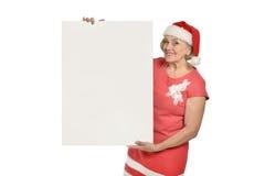 Senior woman  holding white blank Stock Photos