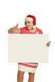 Senior woman  holding white blank Stock Photo