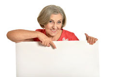 Senior woman holds banner Stock Photo