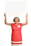 Senior woman holds banner Stock Image
