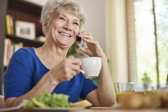 Senior woman at home Royalty Free Stock Image