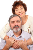 Senior woman hug seat man Royalty Free Stock Photos